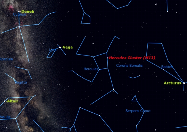 The Great Cluster in Hercules is one of the observing highlights in the summer sky.  The cluster is a globular cluster of stars known as M31. This sky map shows the cluster's location in relation to other constellations in the night sky.