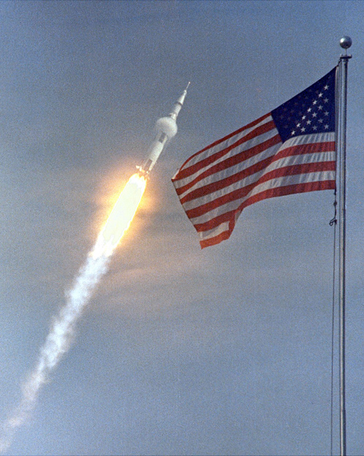 Apollo 11 Liftoff and Flag