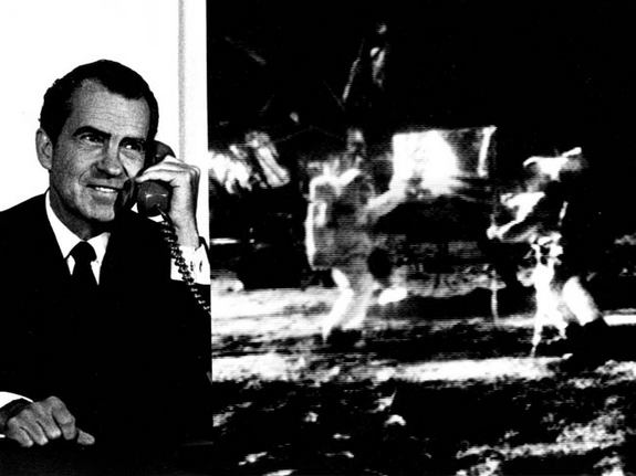 "Composite photo of President Richard M. Nixon as he telephoned ""Tranquility Base"" and astronauts Neil Armstrong and Edwin ""Buzz"" Aldrin after their historic Apollo 11 moon landing on July 20, 1969."