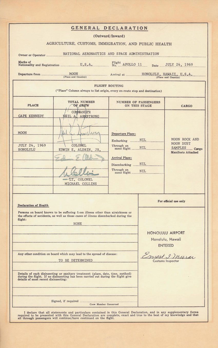 Back from the Moon, Apollo Astronauts Had to Go Through Customs