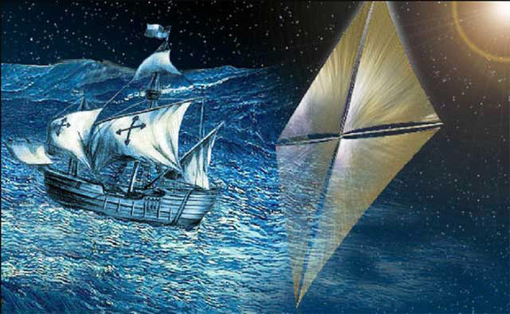 An artist's concept of a sailing ship and a solar sail.