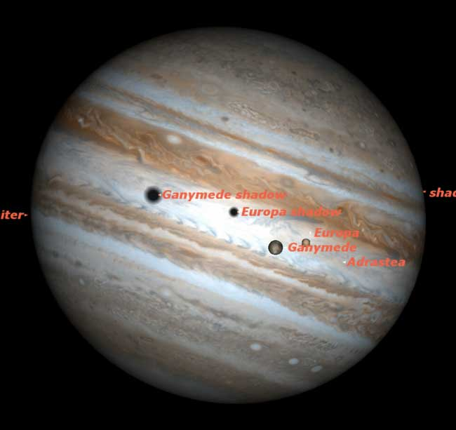 Two Moons to Pass in Front of Jupiter Wednesday Night