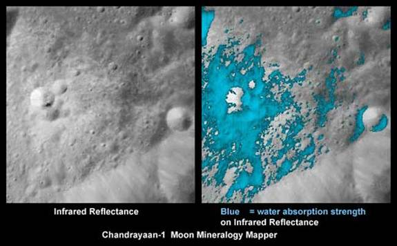 These images show a very young lunar crater on the side of the moon that faces away from Earth, as viewed by NASA's Moon Mineralogy Mapper on the Indian Space Research Organization's Chandrayaan-1 spacecraft. On the left is an image showing brightness at shorter infrared wavelengths. On the right, the distribution of water-rich minerals (light blue) is shown around a small crater. Both water- and hydroxyl-rich materials were found to be associated with material ejected from the crater. Credits: ISRO/NASA/JPL-Caltech/USGS/Brown Univ.