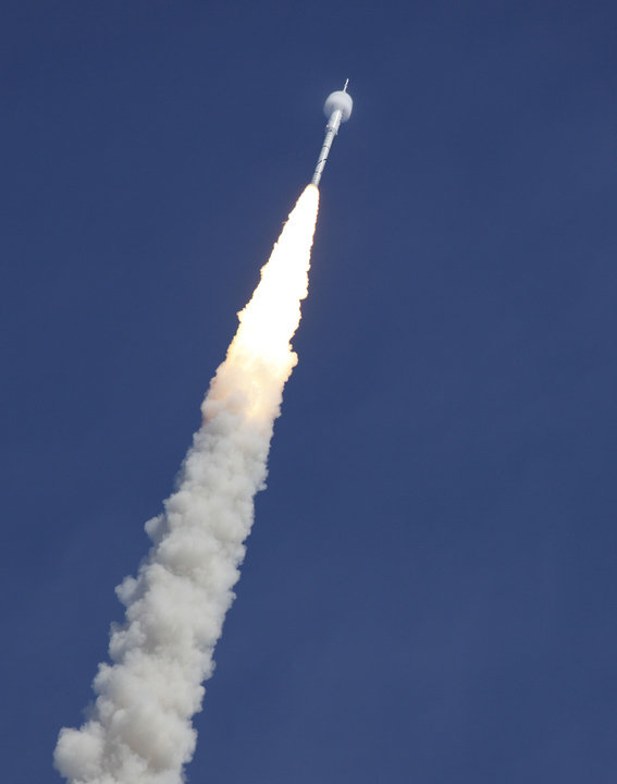 A bow shock forms around the Constellation Program's 327-foot-tall Ares I-X test rocket traveling at supersonic speed during its Oct. 28, 2009 launch from the Kennedy Space Center, Fla. The rocket produces 2.96 million pounds of thrust at liftoff and goes supersonic in 39 seconds.