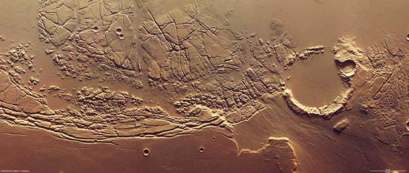 Rugged, Scarred Terrain Seen in New Mars Images