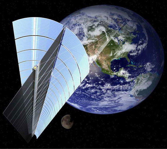 An artist's impression of what JAXA's Space Solar Power System might look like if it used laser transmission to beam solar power down to Earth.