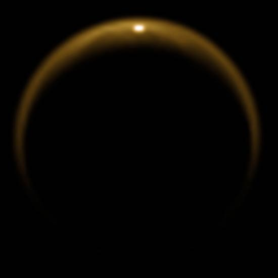Sunlight Glints off Liquid Lake on Titan
