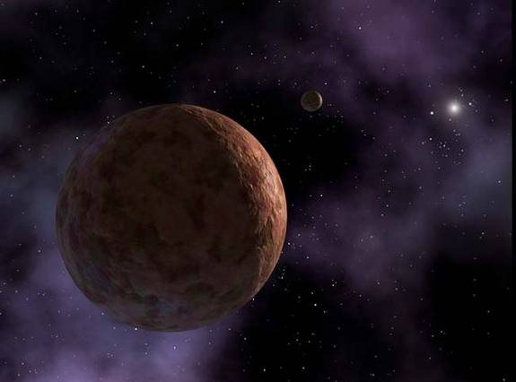 Artist's conception of Sedna, which is so far away it takes 10,000 Earth-years to orbit the sun. All that is known about Sedna's appearance is that it has a reddish hue. In the distance is a hypothetical small moon, which scientists believe may be orbiting this distant body. NASA/JPL-Caltech/R. Hurt (SSC)