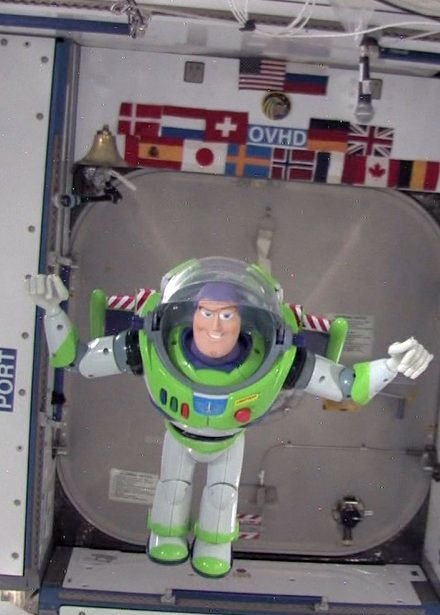 Buzz Lightyear floats aboard the International Space Station during his 468 day mission.