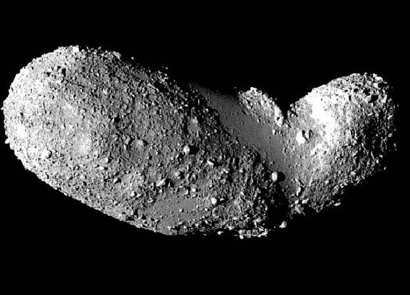 Asteroids, such as Itokawa, pictured here, are thought to be more like piles of rubble loosely clung together, than solid chunks of rock.
