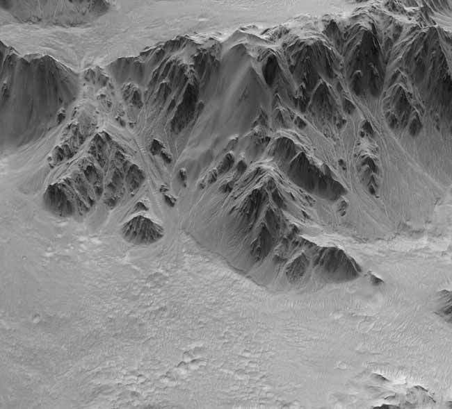 Exaggerated 3-D View Reveals Mars Crater Details