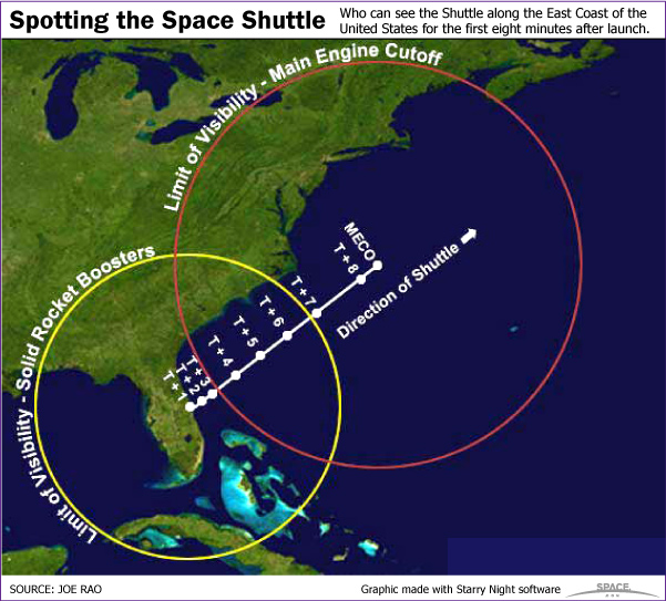 Rare Twilight Shuttle Launch on Monday Visible Along Eastern United States