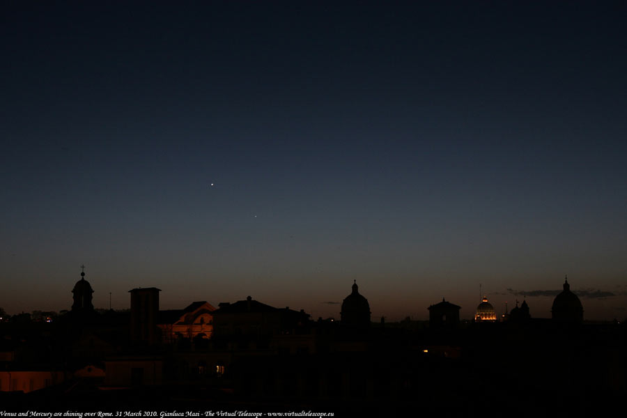 Venus and Mercury Sparkle Over Rome in New Photo