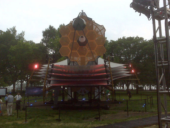 A full-scale, tennis court-sized model of the James Webb Space Telescope. The replica was on display in Battery Park in New York City as part of the 2010 World Science Festival.