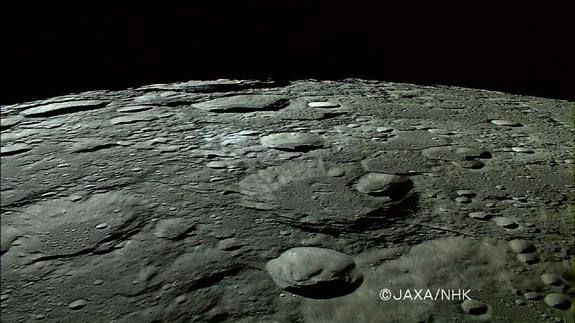 This photo of craters at the moon's north pole was taken By Japan's Kaguya lunar orbiter on Oct. 31, 2007.