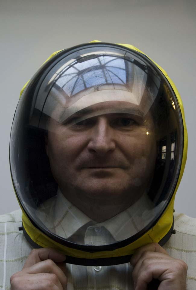 Co-Inventor Nikolay Moiseev in Final Frontier Design Spacesuit Helmet