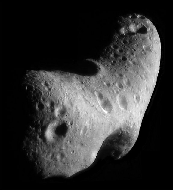 This image, taken by NASA's Near Earth Asteroid Rendezvous mission in 2000, shows a close-up view of Eros, an asteroid with an orbit that takes it somewhat close to Earth. NASA's Spitzer Space Telescope observed Eros and dozens of other near-Earth asteroids as part of an ongoing survey to study their sizes and compositions using infrared light.