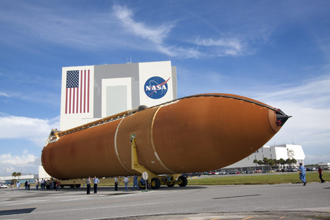 Fuel Tank for Final Space Shuttle Mission Arrives at Launch Site