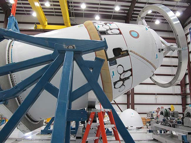 Dragon Spacecraft in a Hangar