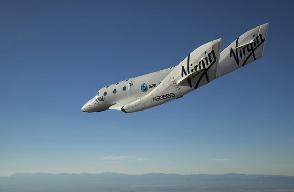 Virgin Galactic's SpaceShipTwo makes its first solo test flight Oct. 10, 2010.