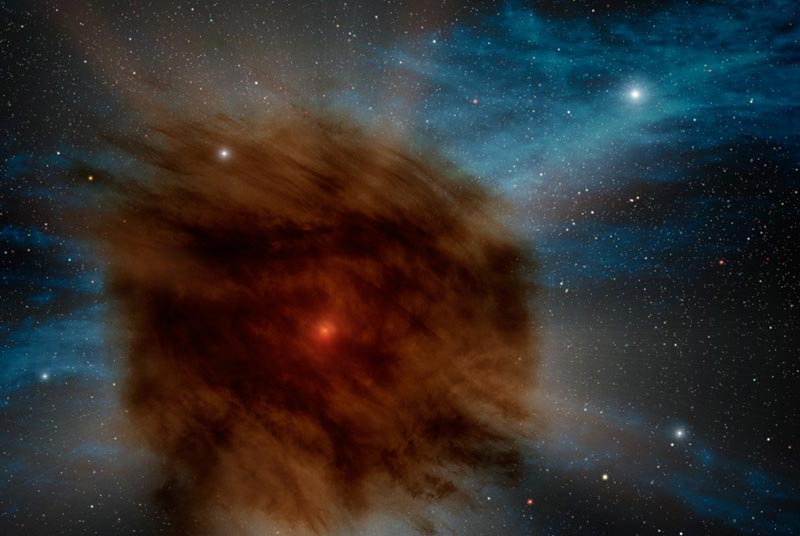 Distant Star Explosion Chokes on Its Own Dust