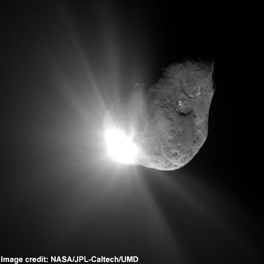 This image of Comet Tempel 1 was taken by NASA's Deep Impact spacecraft on July 4, 2005, 67 seconds after a probe crashed into the comet.