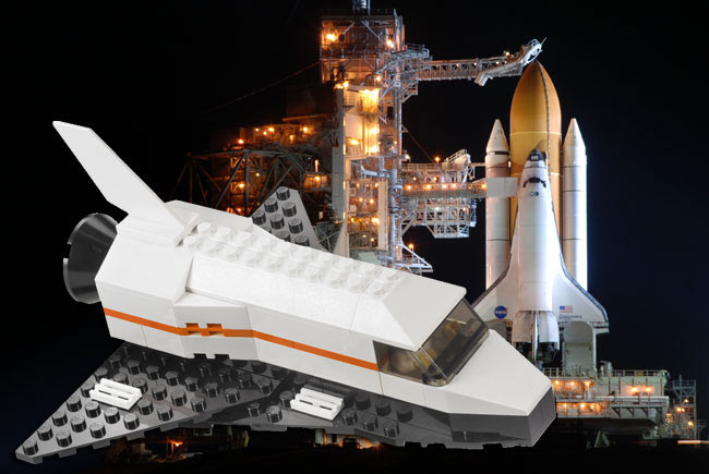 LEGO Space Shuttle on Real NASA Shuttle