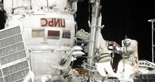 Spacewalking Cosmonauts Upgrade International Space Station
