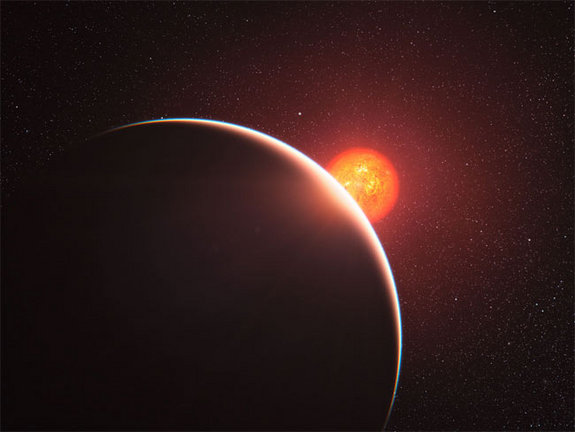 This artist's impression shows the super-Earth exoplanet GJ 1214b passing in front of its faint red parent star. The exoplanet, orbiting a small star only 40 light-years away from us, has a mass about six times that of the Earth. GJ 1214b appears to be surrounded by an atmosphere that is either dominated by steam or blanketed by thick clouds or hazes.