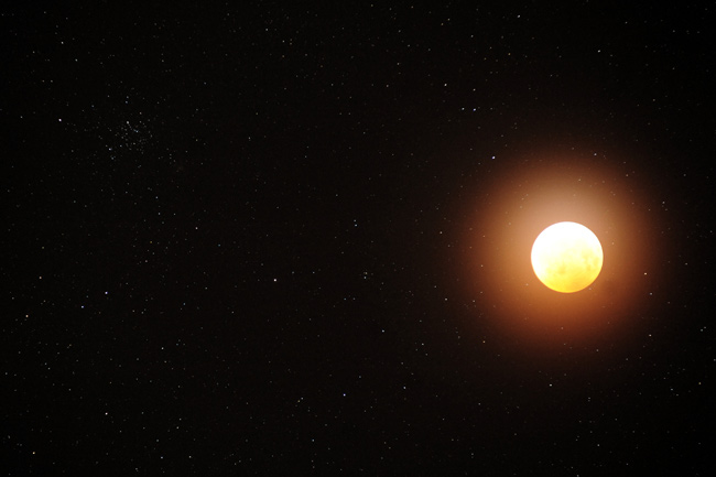 Lunar Eclipse and Star Cluster