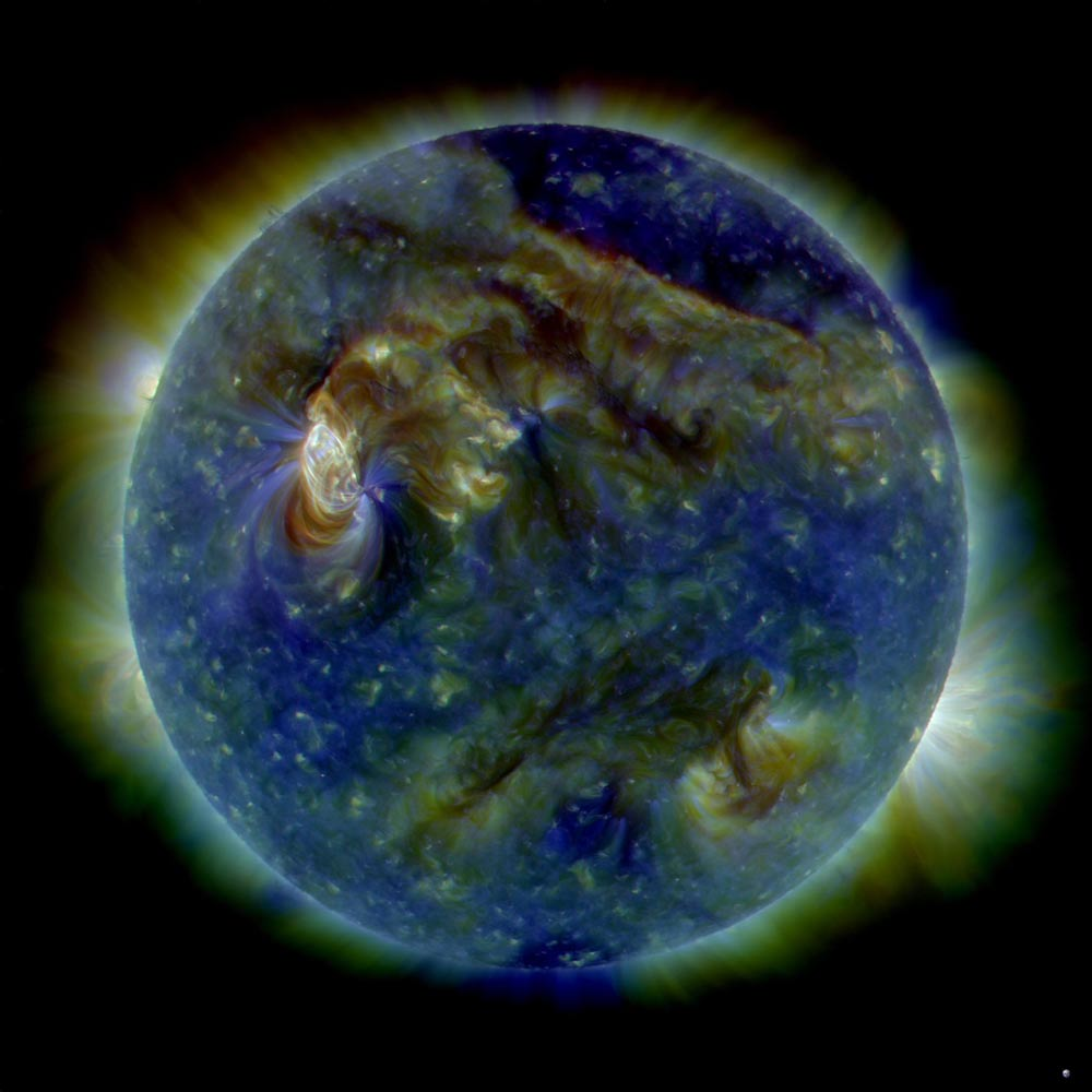 NASA's Solar Dynamics Observatory snapped this multi-wavelength extreme ultraviolet image of the sun, showing the sun