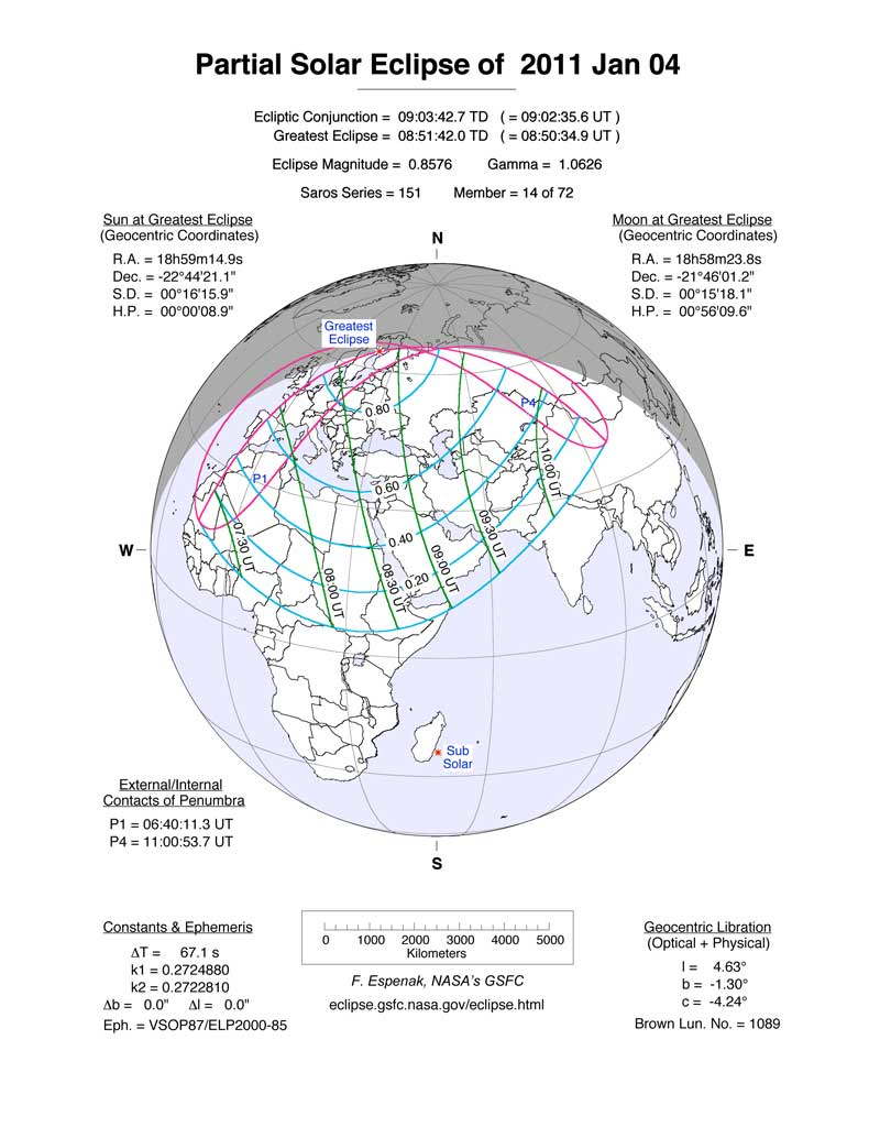 Partial Solar Eclipse of Jan. 4, 2011: The Path
