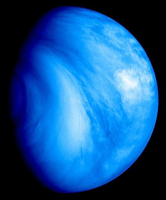 Venus' southern hemisphere, as seen in the ultraviolet.