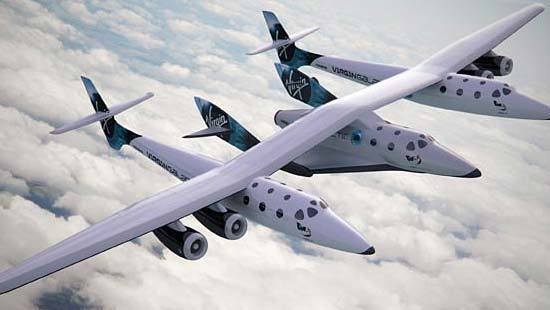 The mothership WhiteKnightTwo carries Virgin Galactic's suborbital spacecraft SpaceShipTwo to New Mexico's Spaceport America, which will be its home base once the facility is complete.