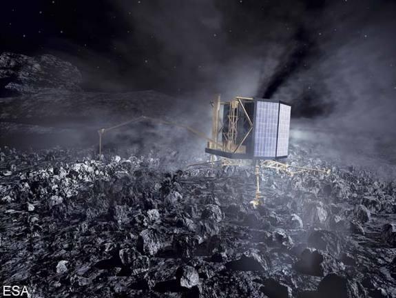An artist's illustration of Rosetta's Philae lander on the surface of Comet 67P/Churyumov-Gerasimenko.