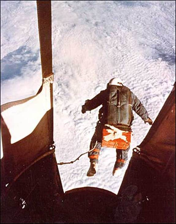 Air Force Captain Joseph Kittinger, Jr. jumps from Excelsior III balloon gondola in 1960 test, freefalling toward Earth for over 4 minutes.