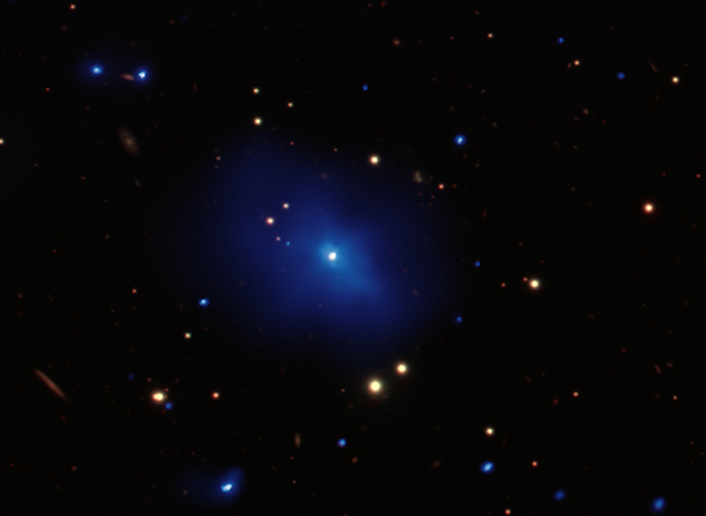 Distant Galaxy Cluster Has a Cold Quasar Heart