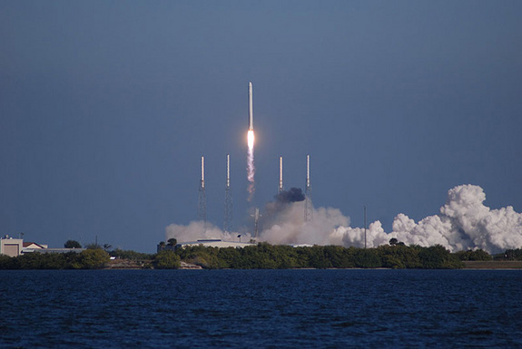 SpaceX's Falcon 9 rocket lifts off on Dec. 8, 2010, with the company's first Dragon spacecraft. Three hours and 20 minutes later, the capsule splashed down in the Pacific Ocean, marking a first for a non-governmental entity.