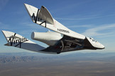 Virgin Galactic's SpaceShipTwo private suborbital spacecraft makes its first solo test flight on October 10, 2010.