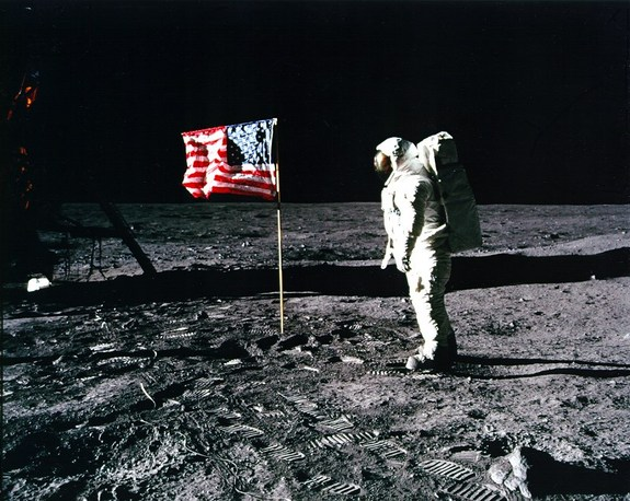 Apollo 11 astronaut Buzz Aldrin stands on the lunar surface during the first moon landing in 1969.