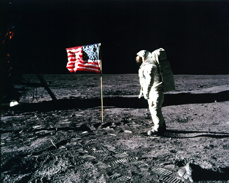 Apollo 11 astronaut Buzz Aldrin stands on the lunar surface during the first moon landing in 1969