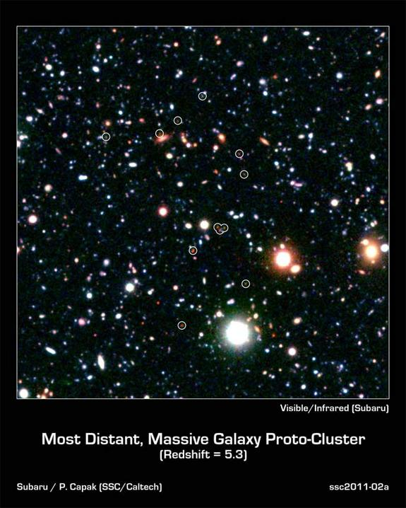This extremely distant protocluster represents a group of galaxies forming very early in the universe, about only a billion years after the Big Bang.