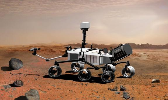 An artist's concept illustrates what the Mars rover Curiosity will look like on the Red Planet.