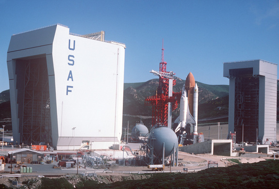 A view of the NASA Orbiter OV-101 Enterprise on the launch tower as it would appear prior to launch.