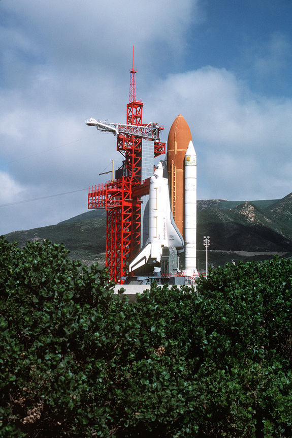 "Space Shuttle Enterprise in launch position on the Space Launch Complex (SLC) #6, commonly known as ""SLICK 6"", during the ready-to-launch checks to verify launch procedures."