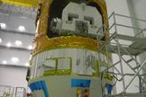 Japan's second robotic HTV cargo ship, the Kounotori 2, is prepared for its Jan. 22, 2011 launch from the country's Tanegashima Space Center by the Japan Aerospace Exploration Agency. Here, the craft's unpresurrized cargo section is shown.