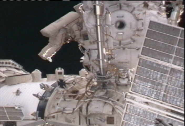 Russian Spacewalkers Upgrade International Space Station