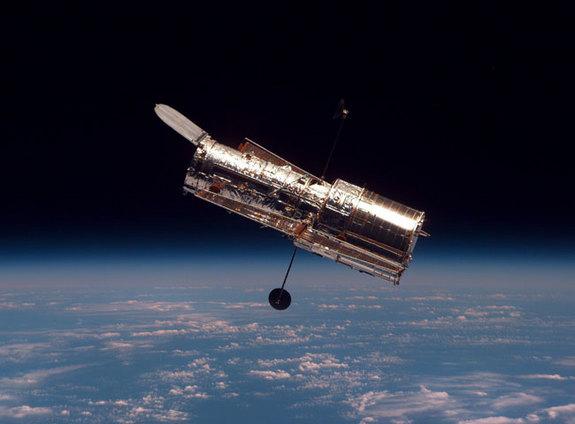 The Hubble Space Telescope in orbit.