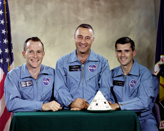"On Jan. 27, 1967, NASA experienced its first space disaster - the deaths of three astronauts during a training excercise for the Apollo 1 mission. Pictured are the three Apollo 1 prime crewmembers intended for the first manned Apollo space flight: (L to R) Edward H. White II, Virgil I. ""Gus"" Grissom, and Roger B. Chaffee. A fire inside the Apollo Command Module during a test took the lives of all three astronauts. NASA had not experienced a disaster of this magnitude previously."