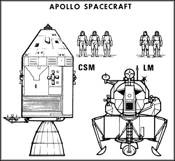 This NASA schematic details the size of the Apollo space capsules, service modules and lunar landers that would ultimately take astronauts to the moon in the late 1960s and early 1970s.